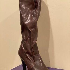 Brown Knee High Boots with Heel